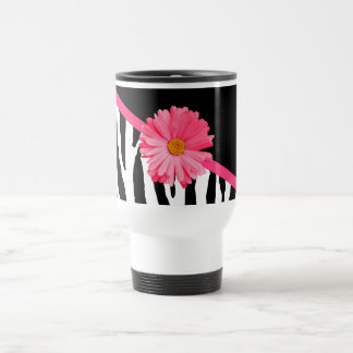 Girly Zebra Pattern Cute Pink Daisy With Name Stainless Steel Travel Mug