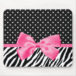 Girly Zebra Print Polka Dots and Cute Pink Ribbon Mouse Pad