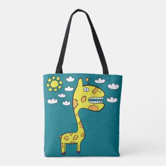 Girraffey the Giraffe - All-Over-Print Turquoise Tote Bag