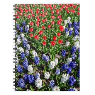 Gisement de fleurs avec les tulipes bleues et les carnets à spirale