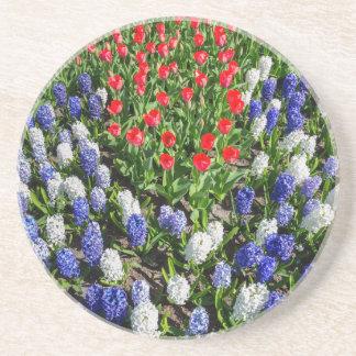 Gisement de fleurs avec les tulipes bleues et les dessous de verres