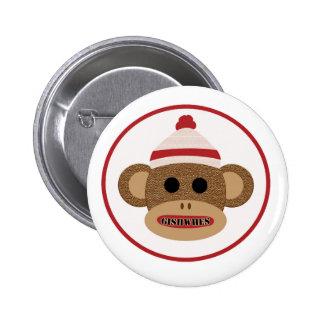 GISHWHES Sock Monkey pinback button