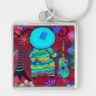 Gitarero Mexican Mariachi in Slumber Silver-Colored Square Keychain