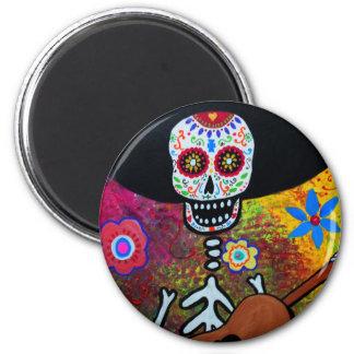 Gitarero Serenata Dia de los Muertos 2 Inch Round Magnet