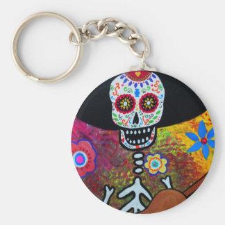 Gitarero Serenata Dia de los Muertos Basic Round Button Keychain