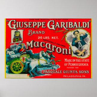 Giuseppe Garibaldi Macaroni Label Poster