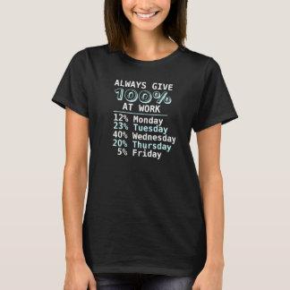 Give 100% At Work Humor T-Shirt