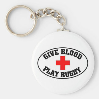 Give blood play Rugby Keychain