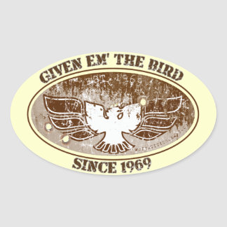 Give Em the Bird Toolbox Oval Sticker