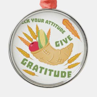 Give Gratitude Silver-Colored Round Ornament