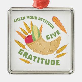 Give Gratitude Silver-Colored Square Ornament