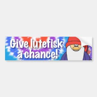 Give Lutefisk a Chance Bumper Sticker Car Bumper Sticker