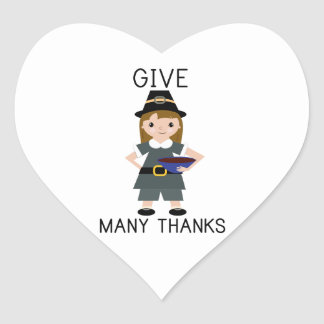 Give Many Thanks Heart Stickers