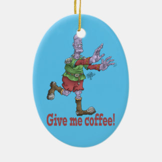 Give me coffee! Oval ceramic decoration. Ceramic Oval Ornament