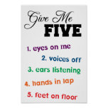 Give Me Five Teacher Poster