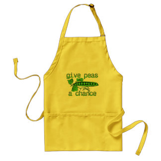 Give Peas A Chance Funny Peace Apron Humor