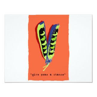 "give peas a chance-orange 4.25"" x 5.5"" invitation card"