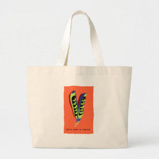 give peas a chance-orange tote bags