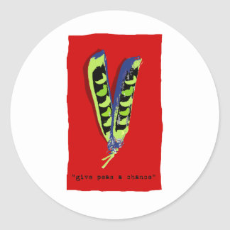 give peas a chance-red round sticker