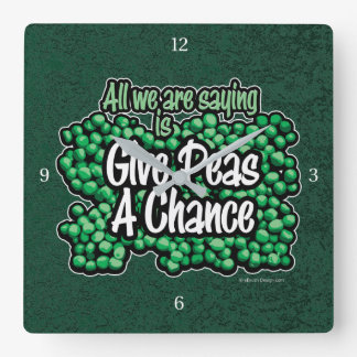 Give Peas A Chance Square Wall Clock