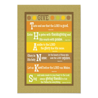 """GIVE THANKS 2-Sided Scripture Thanksgiving Card 5"""" X 7"""" Invitation Card"""