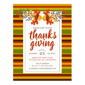 Give Thanks | Autumn Fall Leaves & Acorns Postcard