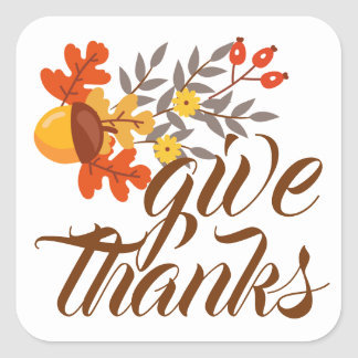 Give Thanks | Autumn Fall Leaves & Acorns Square Sticker