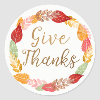 Give Thanks Autumn Leaves Wreath Classic Round Sticker