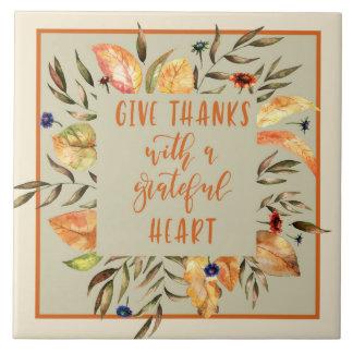 Give Thanks - Autumn Wreath Ceramic Tile