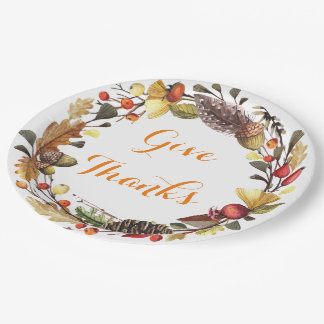 Give Thanks autumn wreath Paper Plate