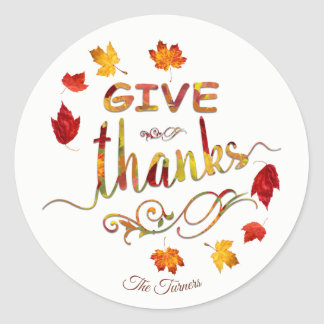Give Thanks Chic Fall Rustic Thanksgiving Monogram Classic Round Sticker