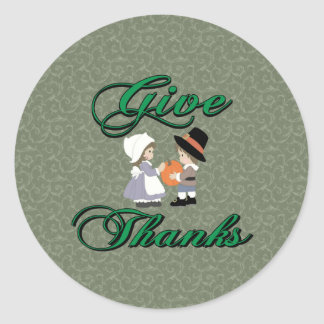 Give Thanks Classic Round Sticker