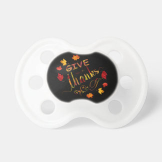 Give Thanks Fall Rustic Thanksgiving Monogram Pacifier