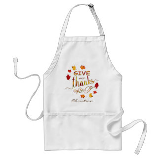 Give Thanks Fall Rustic Thanksgiving Monogram Standard Apron
