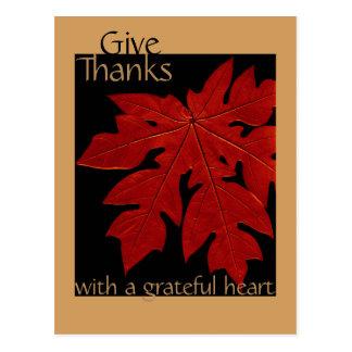 Give Thanks Fall Thanksgiving Prayer Custom Postcard