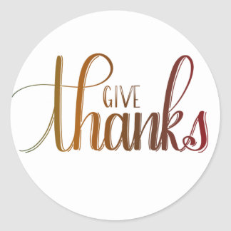 Give Thanks, Handlettered Sticker, Autumn Colors Classic Round Sticker