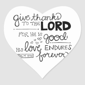 Give thanks heart sticker