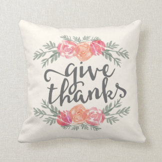 Give Thanks | Ivory Watercolor Floral Thanksgiving Throw Pillow