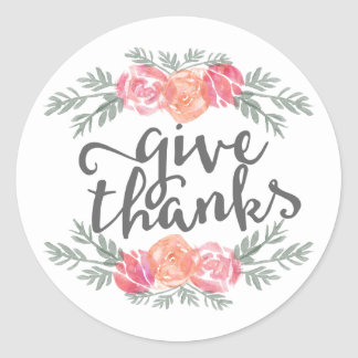 Give Thanks Modern Watercolor Floral Thanksgiving Classic Round Sticker