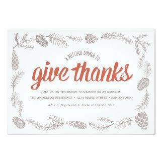 "Give Thanks Potluck 5"" X 7"" Invitation Card"