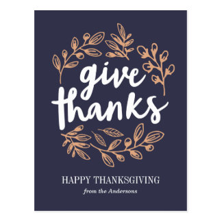 Give Thanks Script Postcard