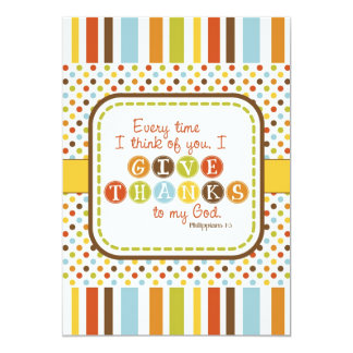 """GIVE THANKS Scripture Thanksgiving Card 5"""" X 7"""" Invitation Card"""