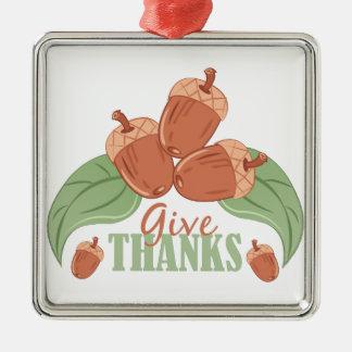 Give Thanks Silver-Colored Square Ornament