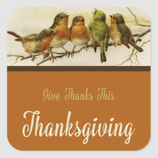 Give Thanks Singing Birds Square Sticker