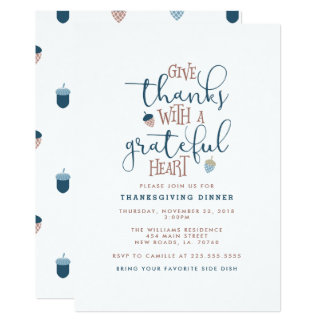 Give Thanks Thanksgiving Dinner Card