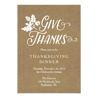 Give Thanks Thanksgiving Dinner Feast Invitation