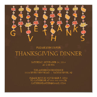 Give Thanks Thanksgiving Dinner Party Invitation