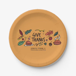 Give Thanks. Thanksgiving Family Celebration. 7 Inch Paper Plate