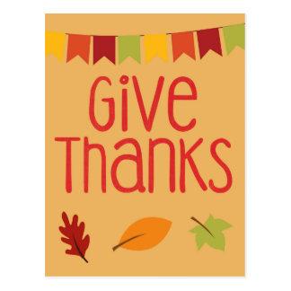 Give Thanks Thanksgiving Leaf Harvest Design Postcard