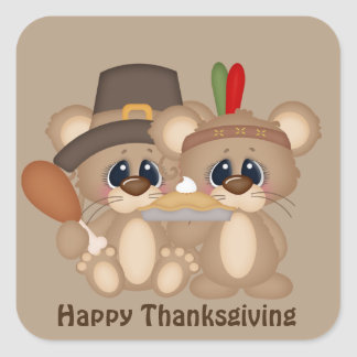 Give Thanks Thanksgiving mice pilgrim Indian Square Sticker